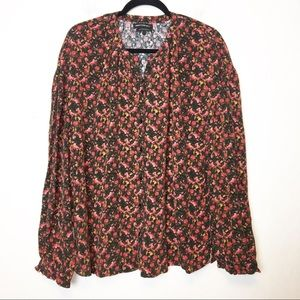 Something Navy Floral Button Down Blouse Top